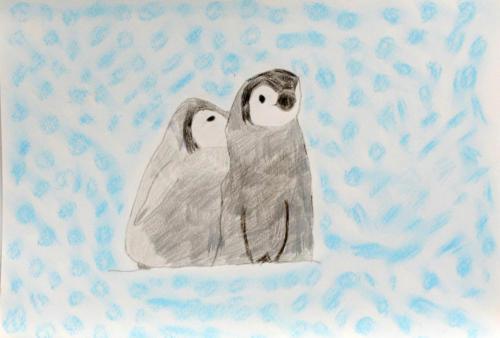 寄り添うペンギン
