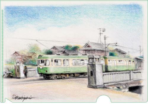 神戸橋と江ノ電旧500系