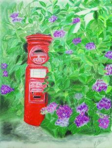 ポストin+紫陽花