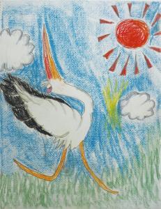 コウノトリは空へとエサを探しに行く
