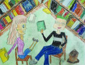 書斎ではしゃぐハリーポッターとハーマイオニーグレンジャー