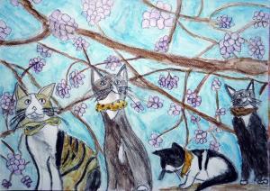 桜と四匹のネコ達