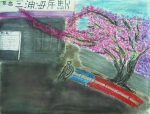 駅前の河津桜