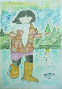 冬と遊ぶ女の子