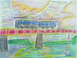 夕日の鉄道