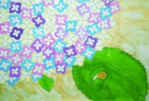 レインボーカラーの紫陽花