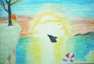 沈む夕日は最後の夏