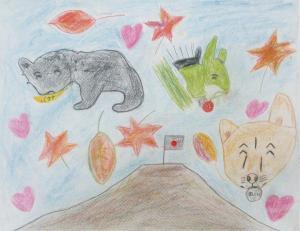 秋 富士山と笑顔の動物たち
