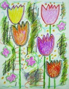 春に沸き立つチューリップ