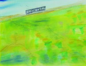 くま川鉄道と菜の花畑