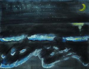 夜の赤潮の海